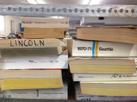 Old phone books, used for weights.  I love how small the Seattle phone book is.