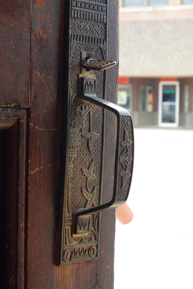 door handle of bank