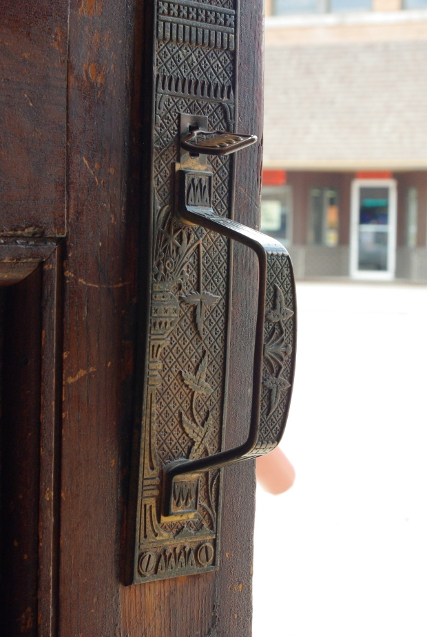 door handle of bank